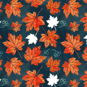 Autumn leaves against dark blue