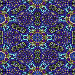 YARD GIANT PANEL DESIGN FLOWERS MANDALA BLUE PURPLE