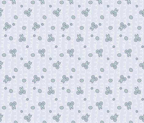 Scissors and Buttons Blue fabric by hollybender on Spoonflower - custom fabric