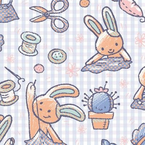 Sewing Bunnies Blue