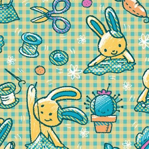 Sewing Bunnies Green