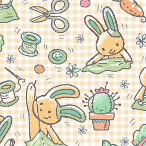 Sewing Bunnies Yellow