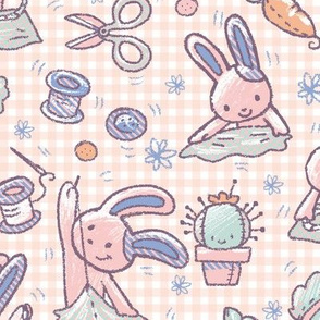 Sewing Bunnies Pink