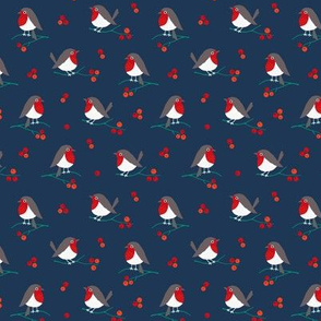 Christmas robin on navy (mini)