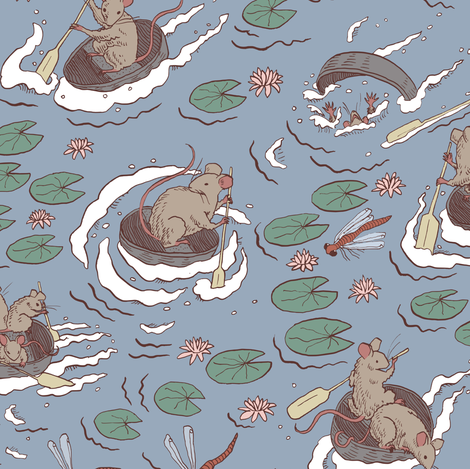 Coracle race fabric by tanaudel on Spoonflower - custom fabric