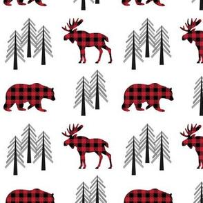 Woodland Moose, Bear & Trees – Red Plaid Bears Buffalo Plaid Check Forest Baby Nursery Bedding GingerLous