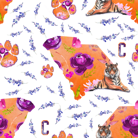"8"" COLLEGE FOOTBALL / TIGER / ORANGE & PURPLE fabric by shopcabin on Spoonflower - custom fabric"