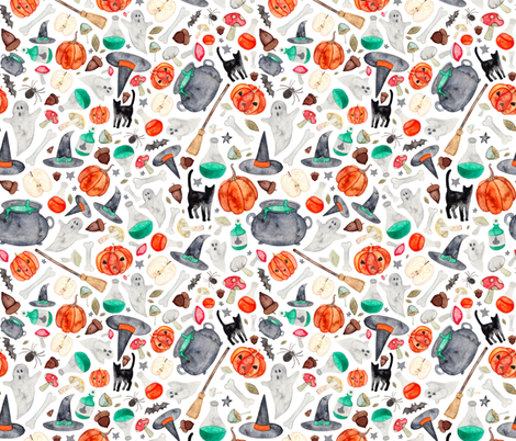 Halloween Autumn Pattern  fabric by elena_o'neill_illustration_ on Spoonflower - custom fabric