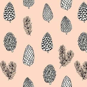 Pinecone nature forest fabric pattern // pastel pink pinecones by andrea lauren