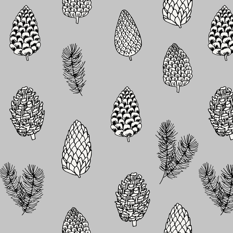 Pinecone nature forest fabric pattern // grey pinecones by andrea lauren fabric by andrea_lauren on Spoonflower - custom fabric
