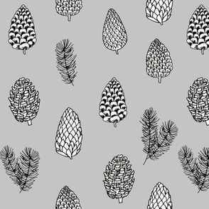 Pinecone nature forest fabric pattern // grey pinecones by andrea lauren