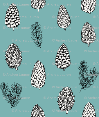 Pinecone nature forest fabric pattern // blue green pinecones by andrea lauren