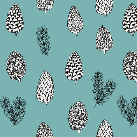 Pinecone nature forest fabric pattern // blue green pinecones by andrea lauren fabric by andrea_lauren on Spoonflower - custom fabric