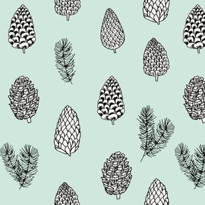 Pinecone nature forest fabric pattern // pastel mint pinecones by andrea lauren