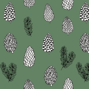Pinecone nature forest fabric pattern // forest green  pinecones by andrea lauren