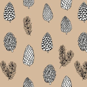 Pinecone nature forest fabric pattern // medium brown  pinecones by andrea lauren