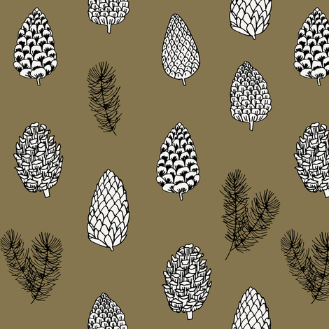 Pinecone nature forest fabric pattern // brown pinecones by andrea lauren fabric by andrea_lauren on Spoonflower - custom fabric
