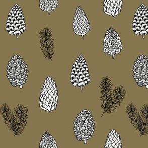 Pinecone nature forest fabric pattern // brown pinecones by andrea lauren