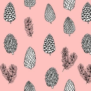 Pinecone nature forest fabric pattern // pink pinecones by andrea lauren