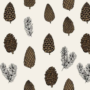 Pinecone nature forest fabric pattern // neutral pinecones by andrea lauren
