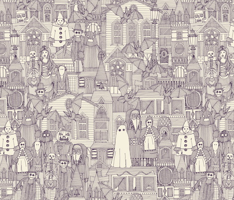 vintage halloween purple ivory fabric by scrummy on Spoonflower - custom fabric