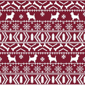 Cairn Terrier fair isle christmas sweater fabric winter holiday dog breed maroon