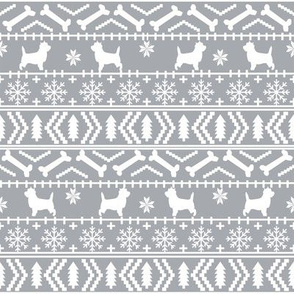 Cairn Terrier fair isle christmas sweater fabric winter holiday dog breed grey