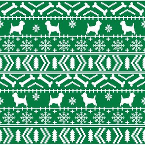 Cairn Terrier fair isle christmas sweater fabric winter holiday dog breed green