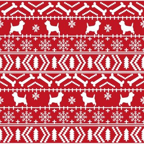 Cairn Terrier fair isle christmas sweater fabric winter holiday dog breed red