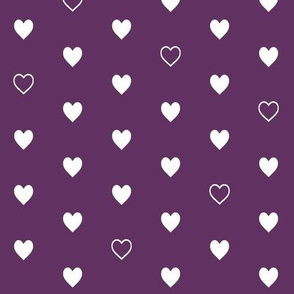 White Hearts on Plum – Love Heart Valentines Day Baby Girl