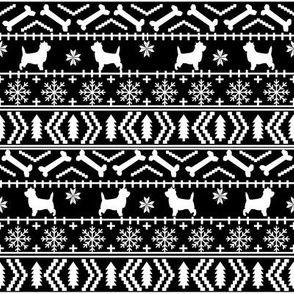 Cairn Terrier fair isle christmas sweater fabric winter holiday dog breed black and white