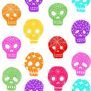 Sugar Skull day of the dead fabric pattern multi colored