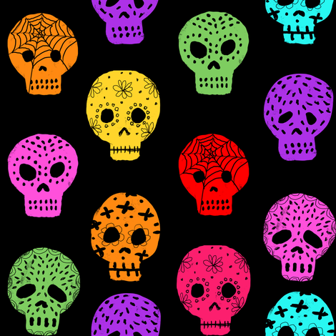Sugar Skull day of the dead fabric pattern black fabric by charlottewinter on Spoonflower - custom fabric