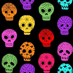 Sugar Skull day of the dead fabric pattern black