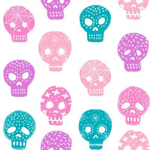Sugar Skull day of the dead fabric pattern pastels