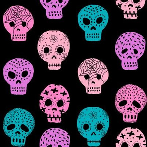 Sugar Skull day of the dead fabric pattern black pastels