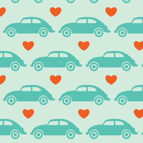 VW Beetle Love - Teal + Orange - Large