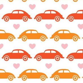 VW Beetle Love - Orange + Pink - Large