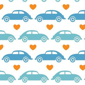 VW Beetle Love - Blue + Orange - Large