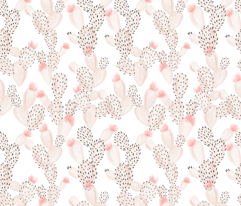 blush paddle cactus + rose fabric by ivieclothco on Spoonflower - custom fabric