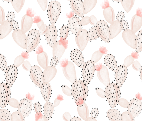 blush paddle cactus + rose // oversized fabric by ivieclothco on Spoonflower - custom fabric