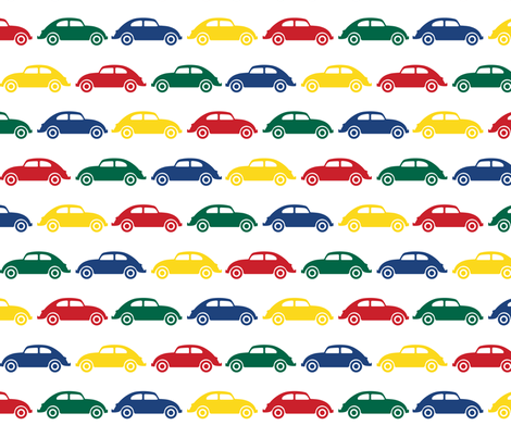 VW Beetle Love - Primary Colors fabric by cpilgrim on Spoonflower - custom fabric