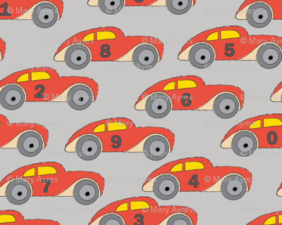 vintage-red cars-with-numbers-on grey