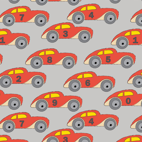 vintage-red cars-with-numbers-on grey fabric by lilcubby on Spoonflower - custom fabric
