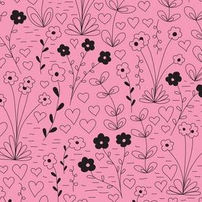 Cutsie Floral - Pink/Black