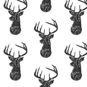 Grunge Black Deer Buck Silhouette – Woodland Baby Nursery Bedding