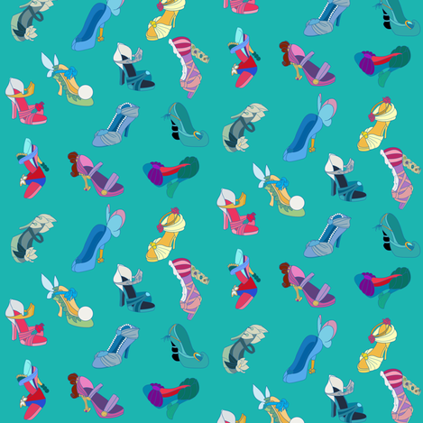 Princess Heels Teal fabric by nekov on Spoonflower - custom fabric