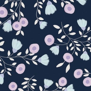 Pale Flowers - Navy blue