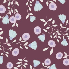 Pale Flowers - Burgundy red