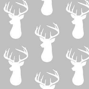 Gray + White Deer Buck Silhouette – Woodland Baby Nursery Bedding